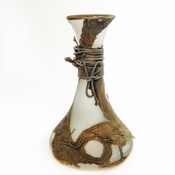 VTG Brutalist Romanian Art Glass Copper Vase Rare